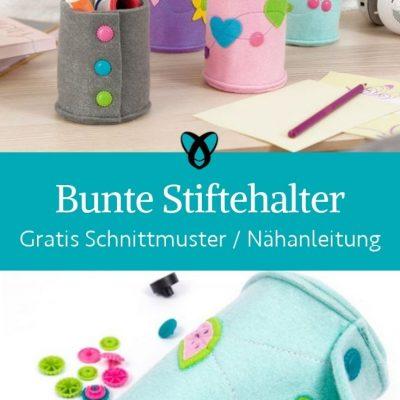 bunte stiftehalter schreibtisch buero kinderzimmer praktisches naehen ordnung aufbewahrung kostenlose schnittmuster gratis naehanleitung