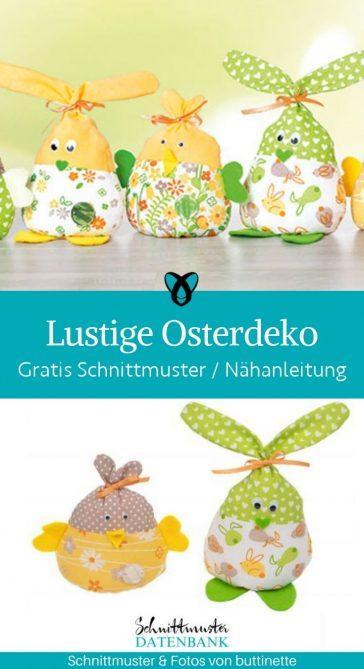 lustig osterdeko ostern dekoration hasen kueken stoffreste kostenlose schnittmuster gratis naehanleitung
