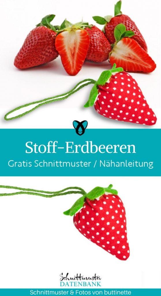 stoff erdbeeren dekoration fruehling deko kleine geschenke kaufladen kostenlose schnittmuster gratis naehanleitung