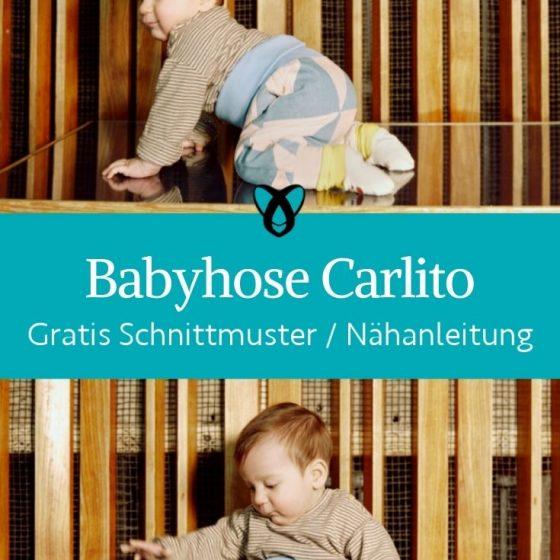 Babyhose Carlito Patchworkhose Pumphose Strampelhose Babykleidung Erstausstattung kostenlose Schnittmuster Gratis Naehanleitung