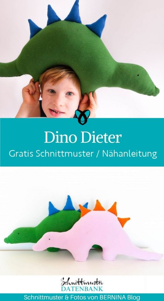 Dinosaurier Dieter Stofftier Kuscheltier Stegosaurus Plueschtier Kuschelkissen fuer Kinder kostenlose Schnittmuster gratis naehanleitung