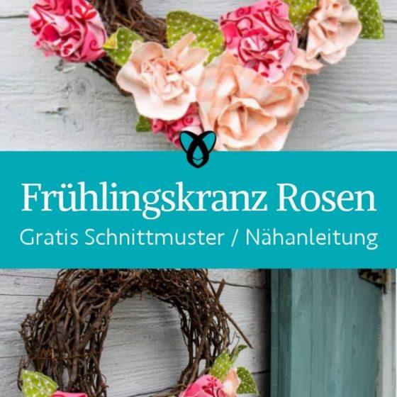 Fruehlingskranz Rosen Blumen Stoffreste Deko Hautuer schmuecken kostenlose Schnittmuster Gratis Naehanleitung