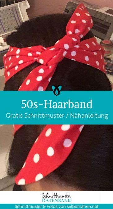 Haarband 50er Jahre retro 50s vintage verkleiden accessoires damen kostenlose Schnittmuster gratis naehanleitung