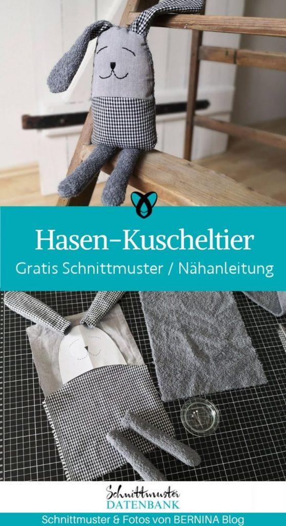 Hasen Kuscheltier Baby Erstausstattung Plüschtier stofftier geschenke zur Geburt kostenlose Schnittmuster Gratis Naehanleitung