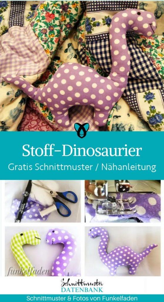 Stoff-Dinosaurier Stofftier Plueschtier kuscheltier Spielzeug kinder kostenlose Schnittmuster Gratis Naehanleitung