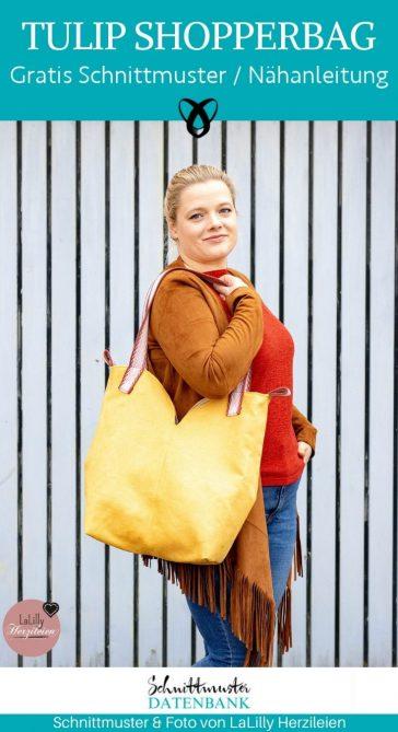 Tulip Shopperbag einkaufstasche handtasche tulpenform shopper kostenlose schnittmuster gratis naehanleitung