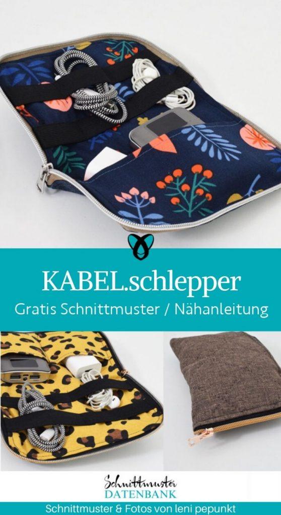 kabelschlepper kabeltasche etui bag kabel festplatte portable kostenlose schnittmuster gratis naehanleitung