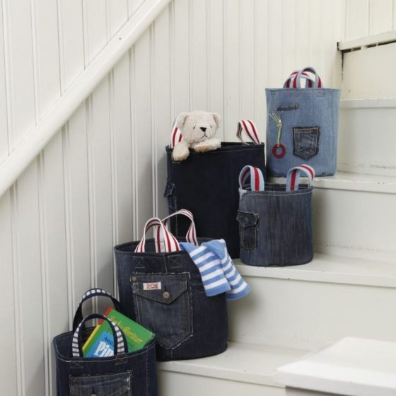Jeans korb aufbewahrung Upcycling naehen fuer zuhause umwelt kostenlose schnittmuster gratis naehanleitung