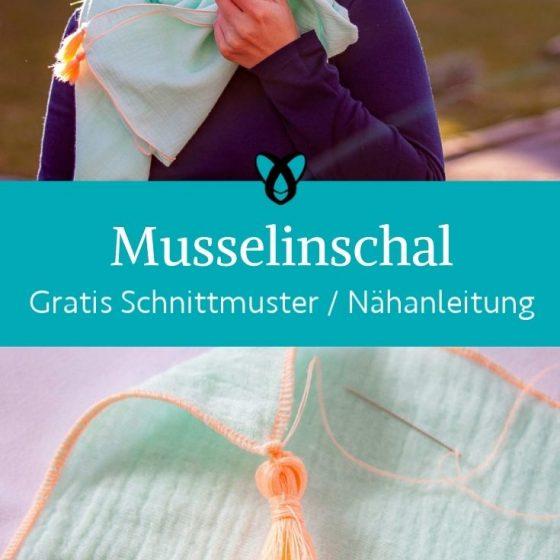 Musselinschal mit Quaste Accessoires tuch tassel musselin kostenlose schnittmuster gratis naehanleitung