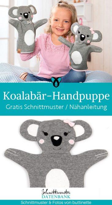koala koalabaer handpuppe spielzeug kinder puppe rollenspiele kuscheltier kostenlose schnittmuster gratis naehanleitung