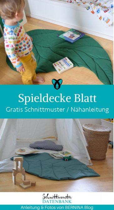 spieldecke blatt blaetterform kinderzimmer babydecke kostenlose schnittmuster gratis naehanleitung