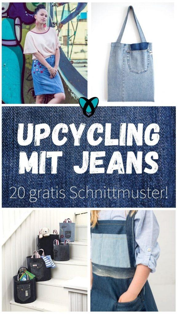 Jeans Denim upcycling nachhaltigkeit dekonstruktivismus wiederverwenden canvas jeanshose jeansrock jeansjacke tasche jeanskleid jeansbluse kissen kostenlose schnittmuster gratis naehanleitung