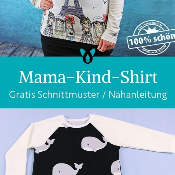 Mama kind shirt partnerlook raglanshirt oberteil damen baby kostenlose schnittmuster gratis naehanleitung