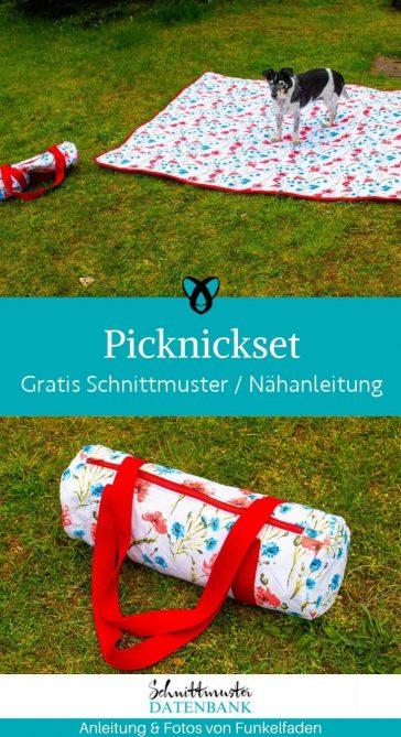Picknickset Picknickdecke Tasche fuer Decke draussen unterwegs ausflug natur garten urlaub kostenlose schnittmuster gratis naehanleitung