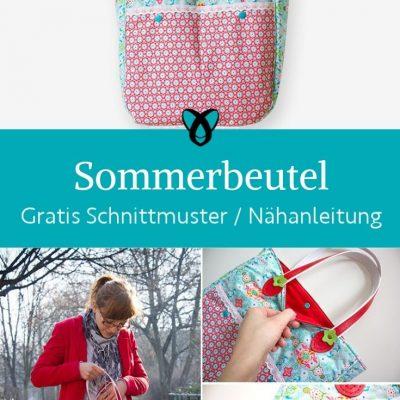 Sommerbeutel Tasche Shopper Einkaufstasche Vintage verspielt bunt kostenlose schnittmuster gratis naehanleitung