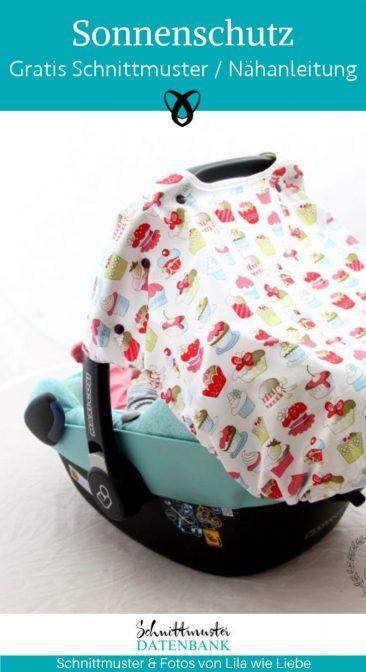 Sonnenschutz Sonnendach Babyschale MaxiCosi Erstausstattung Sommerbaby sonne naehen fuers baby geschenke zur geburt kostenlose schnittmuster gratis naehanleitung