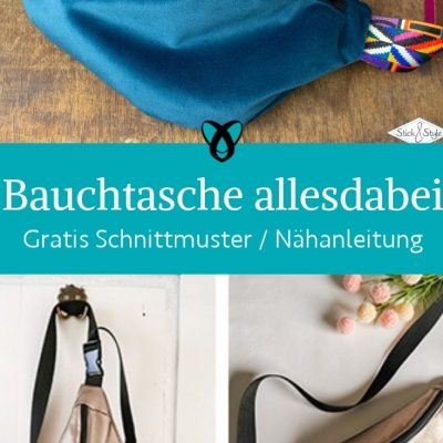 bauchtasche allesdabeibag gurttasche huefttasche hueftbag crossbody kleine handtasche sportlich kostenlose schnittmuster gratis naehanleitung