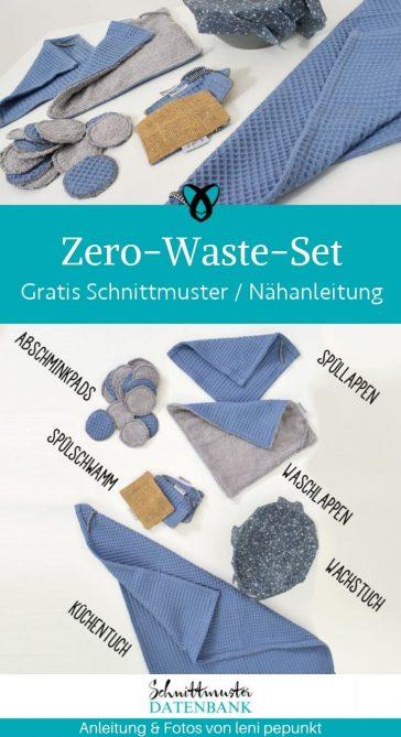 zero waste set fuer die kueche spuellappen abschminkpads fuer zuhause nachhaltigkeit kostenlose schnittmuster gratis naehanleitung