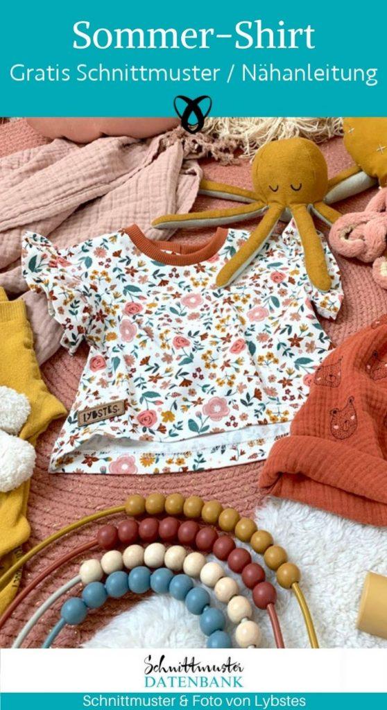 Sommershirt Rueschenshirt Babyshirt kindershirt Oversized babykleidung jersey sommerbaby kostenlose schnittmuster gratis naehanleitung
