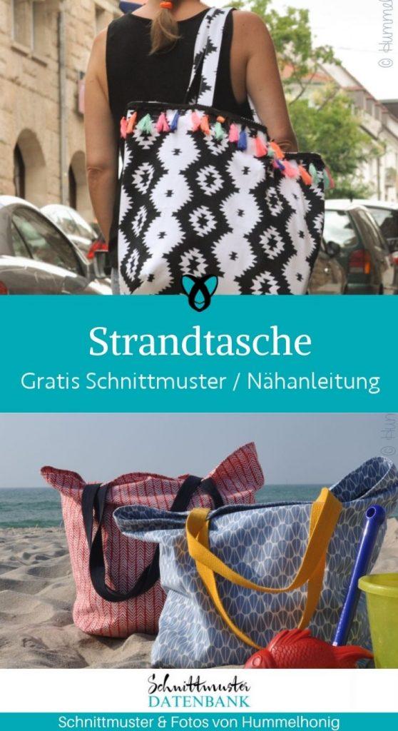 Strandtasche grosse Tasche reisetasche kostenlose schnittmuster gratis naehanleitung