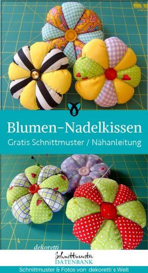 Blumen nadelkissen naehtools naehen nadelaufbewahrung praktisches kostenlose schnittmuster gratis naehanleitung