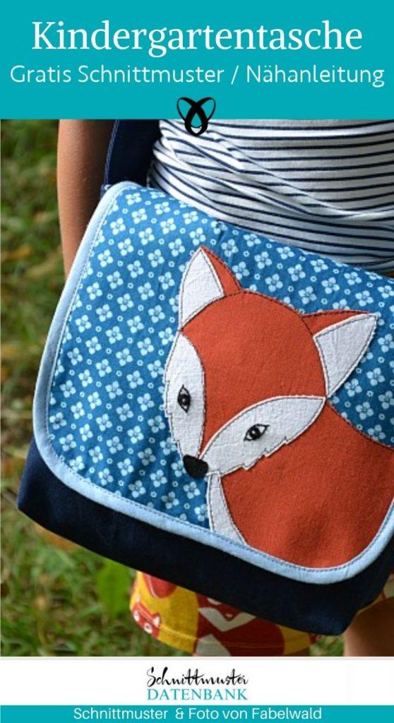 Kindergartentasche Reineke Umhaengetasche Messenger Bag Kinder Tasche Fuchsapplikation kostenlose schnittmuster gratis naehanleitung