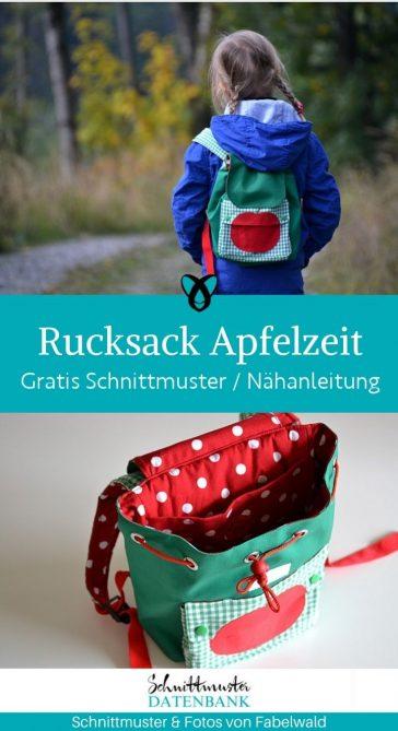 Kinderrucksack Apfelzeit Taschen Kinder Kindergarten Rucksack Wandern Ausflug kostenlose Schnittmuster Gratis Naehanleitung