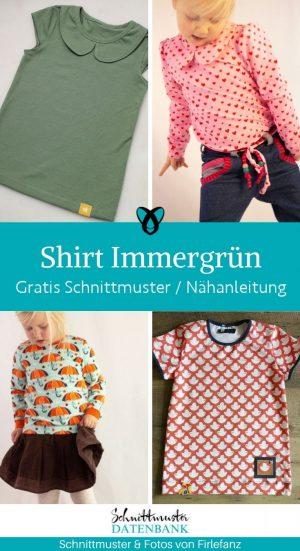 Shirt Immergruen basicshirt Kindershirt schmal eng geschnitten duenne kinder jerseyshirt kostenlose schnittmuster gratis naehanleitung