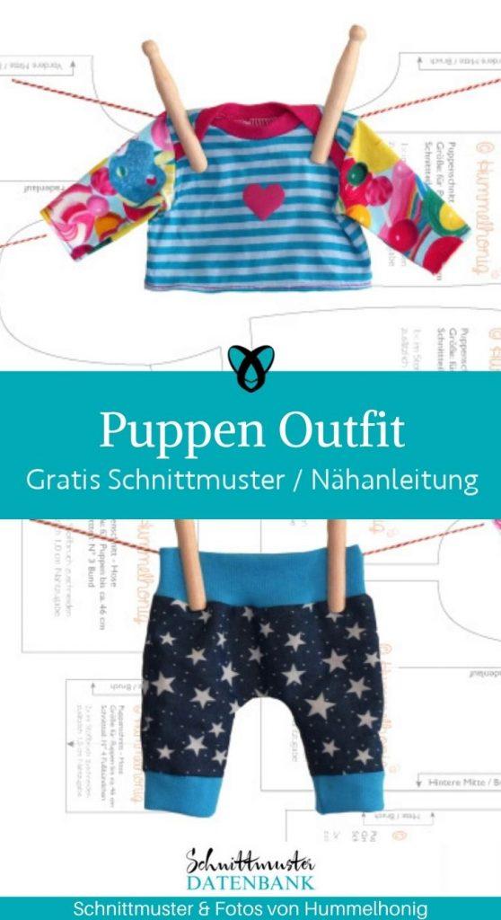 Puppen Outfit Puppenhose Puppenshirt Puppenkleidung Spielzeug Kinder Puppe Fruehchenkleidung kostenlose Schnittmuster gratis naehanleitung