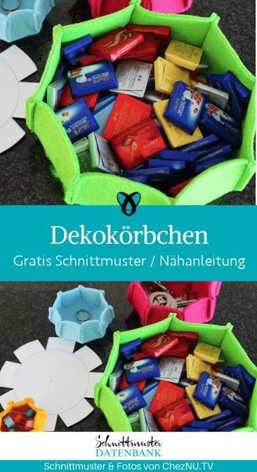 Dekokoerbchen Filz Geschenkverpackung korb aufbewahrung utensilo kostenlose schnittmuster gratis naehanleitung