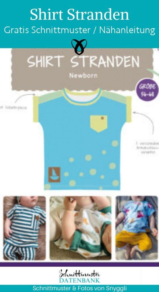 Shirt Stranden Newborn shirt naehen fuer babies baby sommerbaby erstausstattung T-Shirt kostenlose schnittmuster gratis naehanleitung