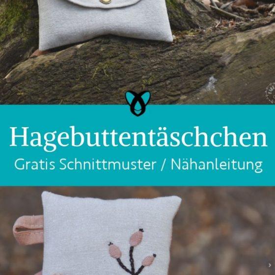 hagebuttentaeschchen kleine Tasche Etui stickerei hagebutte Herbst stoffreste kostenlose schnittmuster gratis naehanleitung