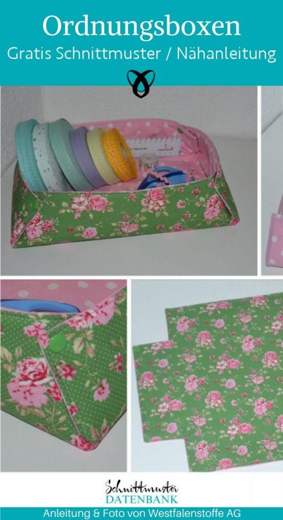 ordnungsbox aufbewahrung ordnung storage fuer zuhause praktisches naehen kostenlose schnittmuster gratis naehanleitung
