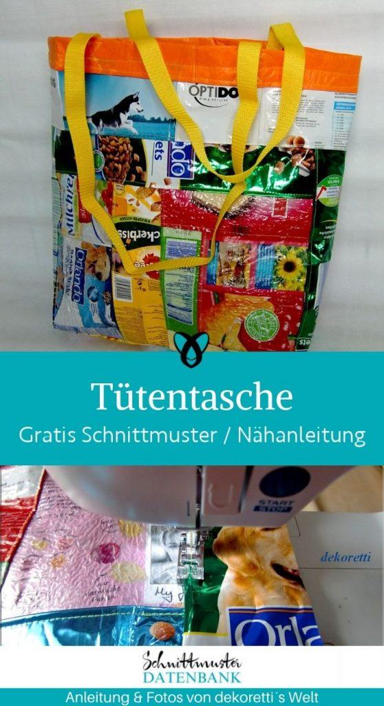 tuetentasche tasche handtasche shopper aus tueten plastik nachhaltigkeit recycling wiederaufbereitung kostenlose schnittmuster gratis naehanleitung