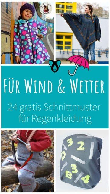 regenkleidung mantel jacke cape poncho wetterfest herbst kalt regen wind muetze schal regenschutz kostenlose schnittmuster gratis naehanleitung