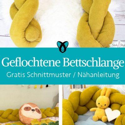 Geflochtene Bettschlange kinderzimmer babyzimmer babybett bettnest schutz erstausstattung kostenlose schnittmuster gratis naehanleitung