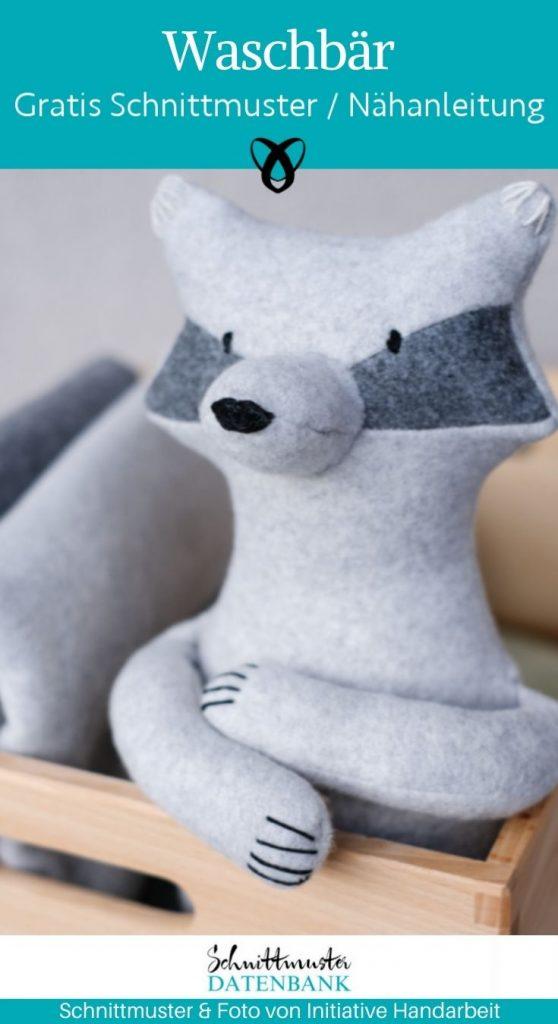 Kuscheltier waschbaer stofftier kinder spielzeug kuscheln spielen selber naehen kostenlose schnittmuster gratis naehanleitung