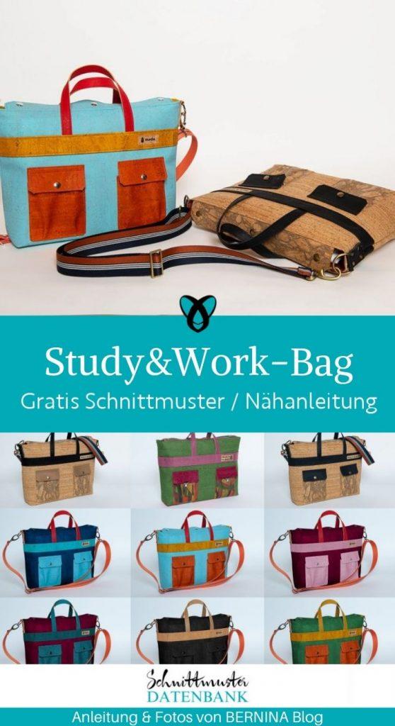 Study Work Bag umhaengetasche aktentasche buerotasche arbeitstasche accessoires messengerbag kostenlose schnittmuster freebook gratis naehanleitung naehen