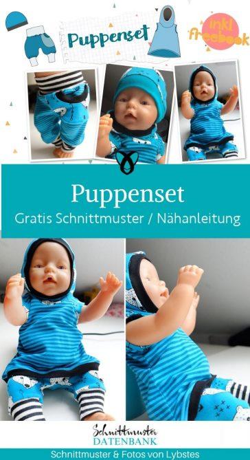 puppenset muetze kleid hose pumphose puppenkleidung naehen fuer puppen kostenlose schnittmuster gratis naehanleitung