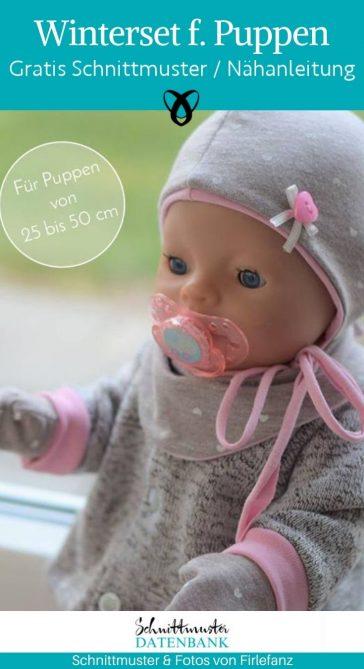 winterset puppen muetze schal handschuhe fruehchen babypuppe spielzeug ausstattung garderobe accessoires warme kleidung kostenlose schnittmuster gratis naehanleitung