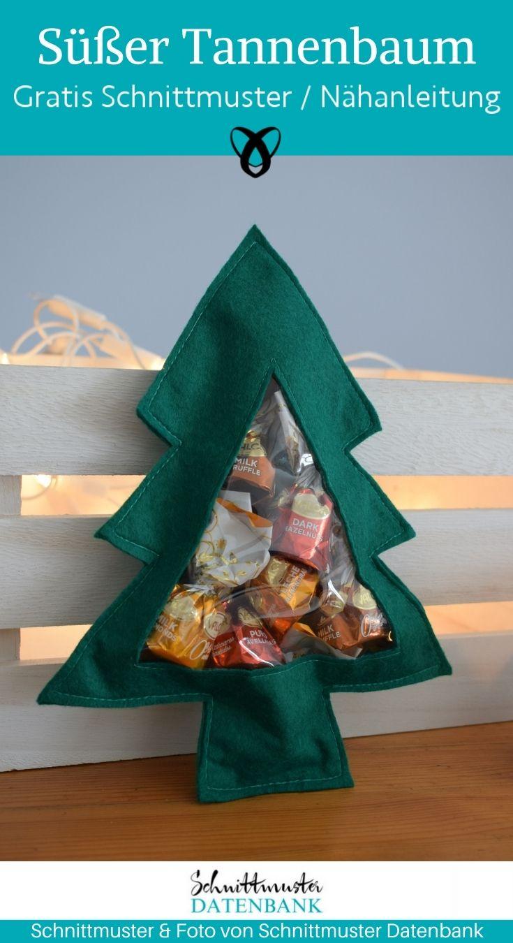 Tannenbaum Filz zum befuellen sichtfenster pralinen suessigkeiten naehen gratis schnittmuster kostenlos freebook weihnachten kleines geschenk kleinigkeit