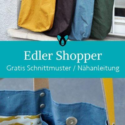 edler shopper einkaufstasche jutebeutel handtasche stoffbeutel einkaufen selber naehen praktisches kostenlose schnittmuster gratis naehanleitung freebook