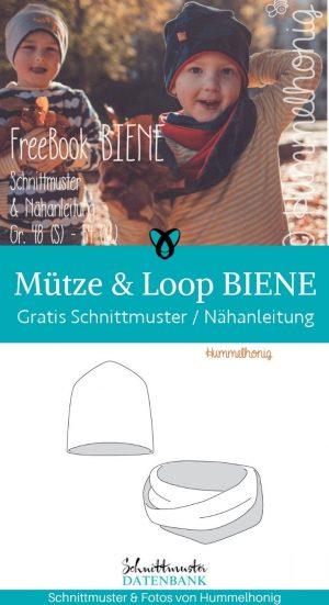 muetze loop biene freebook accessoires kinder herbst winter warme kleidung selber naehen kostenlose schnittmuster gratis naehanleitung