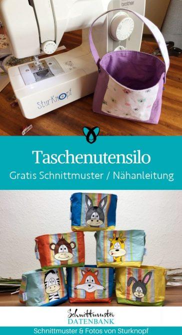 taschenutensilo utensilo aufbewahrung fuer zuhause kinderzimmer kostenlose schnittmuster beutel gratis naehanleitung